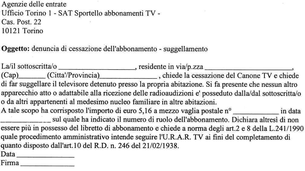 Stop all abbonamento con una raccomandata e 5 16 euro for Abbonamento rai