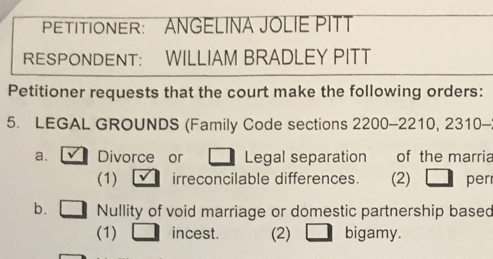 Divorzio Angelina Jolie e Brad Pitt: spuntano i documenti