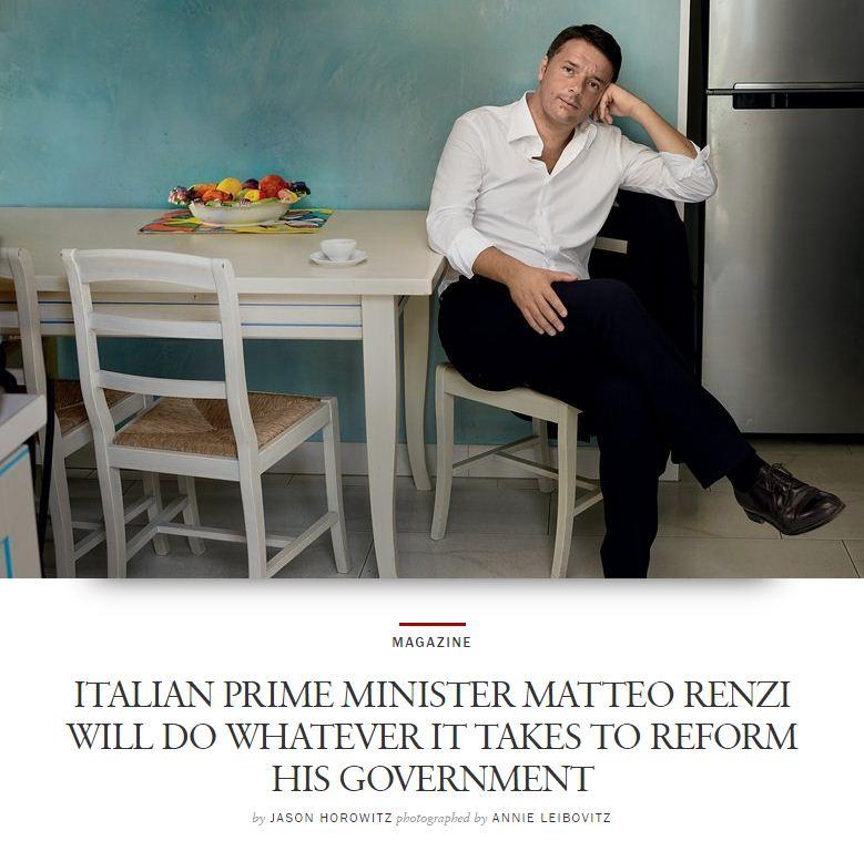 """Renzi sulla copertina di Vogue America: """"Uomo giusto al momento giusto"""""""