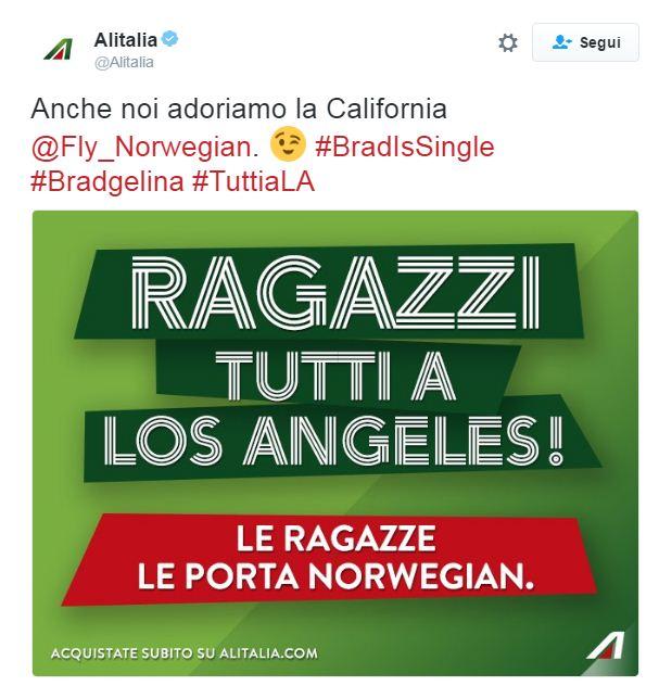 """Alitalia risponde alla Norwegian: """"Ragazzi tutti a Los Angeles"""""""