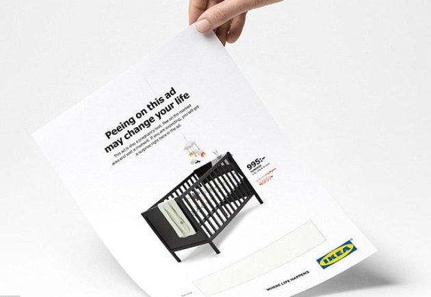 Nella pubblicità della culla Ikea c'è un test di gravidanza