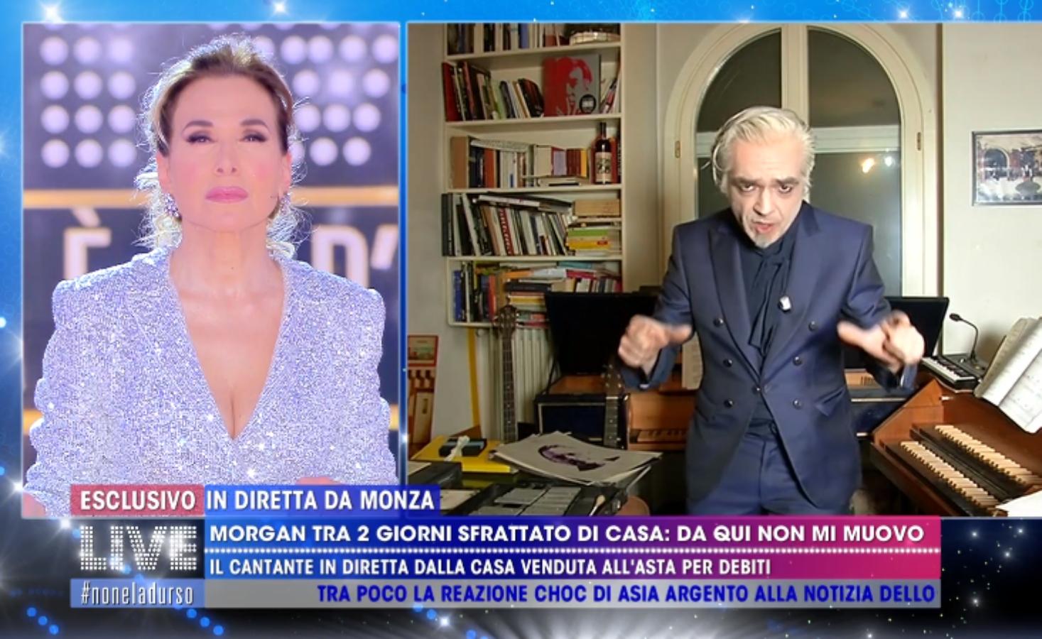 """Live, Morgan Sfrattato Da Casa: """"Vado In Un Luogo Dell'immaginazione"""""""