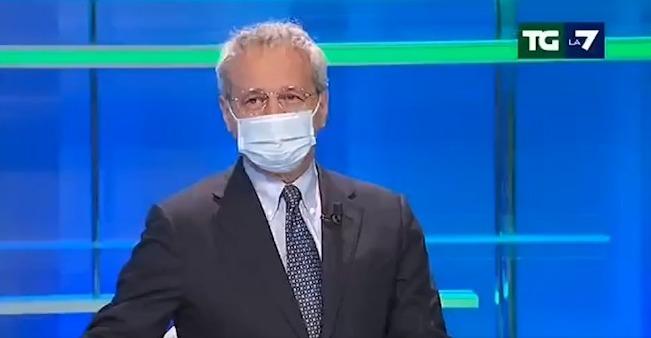 Mentana va in onda con la mascherina: