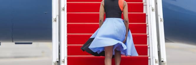 Una folata di vento alza la gonna a Michelle Obama 1