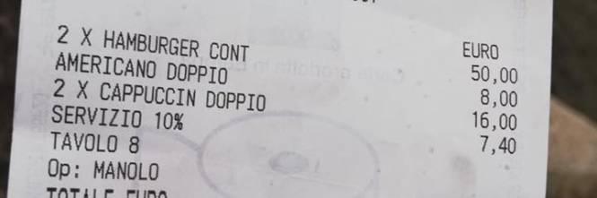 Conto salatissimo a Roma. Due hamburger e tre cappuccini a 81 euro
