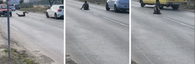 Teramo, nigeriano in mutande fa ginnastica in strada: traffico in tilt