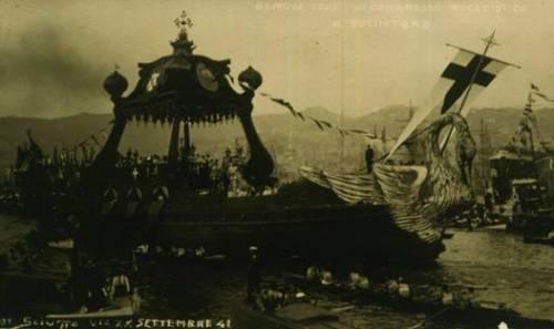 Al congresso del 1923 Santissimo e prelati a bordo del bucintoro