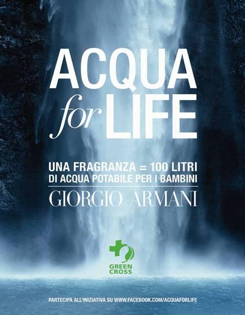 """Acqua For Life, """"mi piace""""con Armani e Green Cross"""