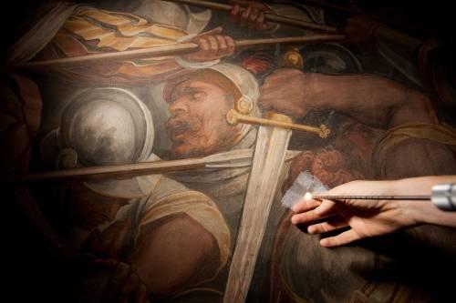 """Firenze, """"Battaglia Anghiari""""  Dietro l'affresco di Vasari c'è l'affresco di Leonardo"""