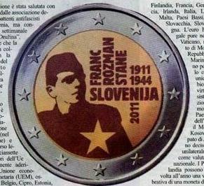 Una moneta slovena celebra l'eroe titino