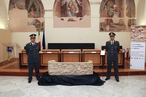 Recuperato il sarcofago delle Quadrighe di Aquino
