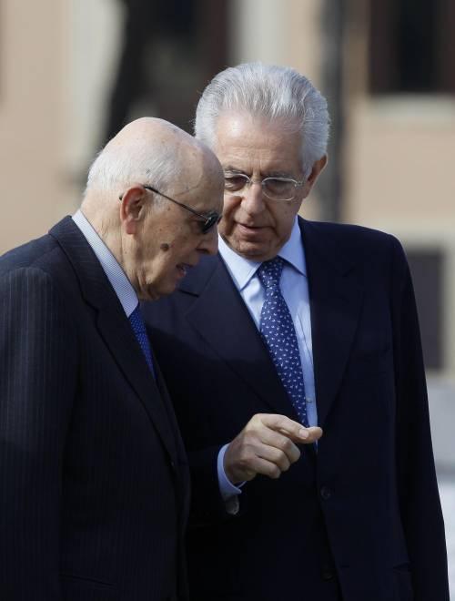 Il presidente della Repubblica Giorgio Napolitano e il presidente del Consiglio Mario Monti