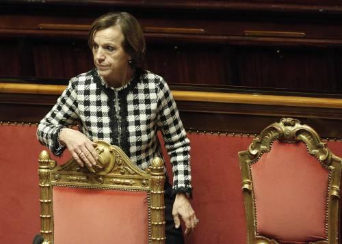 Il ministro del Lavoro Elsa Fornero in Senato durante il voto di fiducia