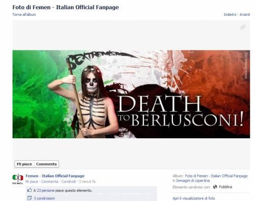 Le Femen inneggiano a uccidere Berlusconi: l'immagine tratta da Facebook