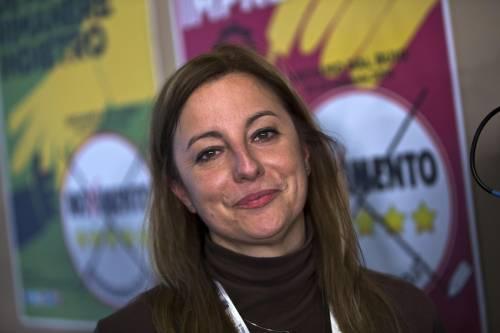 Roberta Lombardi nella sede del quartier generale del M5S