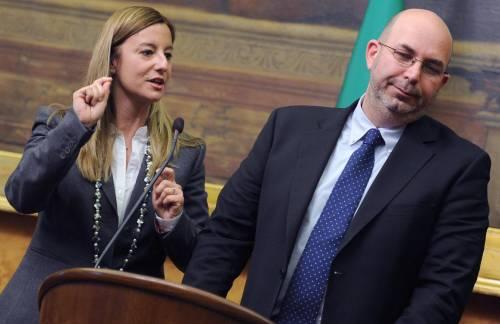 Vito Crimi e Roberta Lombardi al termine delle consultazioni