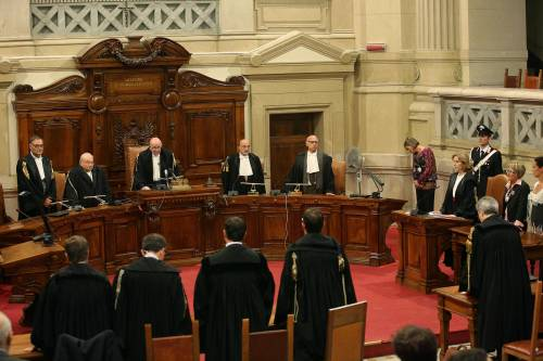 Il Presidente della sezione feriale della corte di cassazione Antonio Esposito legge la sentenza del processo Mediaset