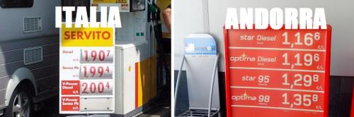 I prezzi della benzina in Italia e Andorra
