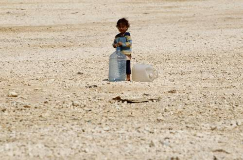 Siria, bambino profugo nel campo di Zaatari, in Giordania