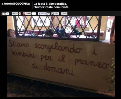 Macabra ironia alla Festa democratica di Bologna
