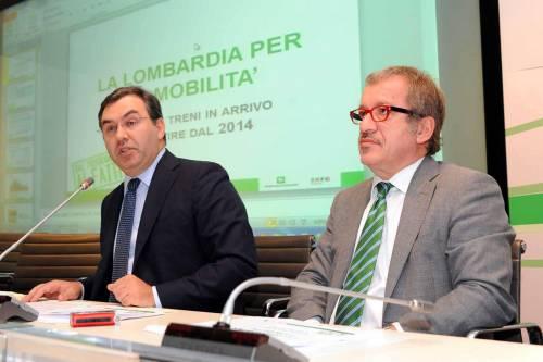 L'assessore alle Infrastrutture Maurizio Del Tenno col governatore Roberto Maroni