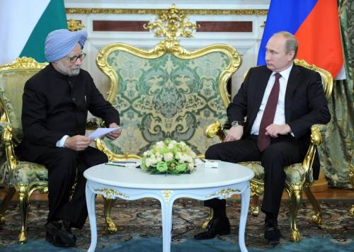 Il premier indiano Manmohan Singhe il presidente russo Vladimir Putin