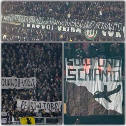 Vergogna allo Juventus Stadium: I tifosi e gli striscioni su Superga