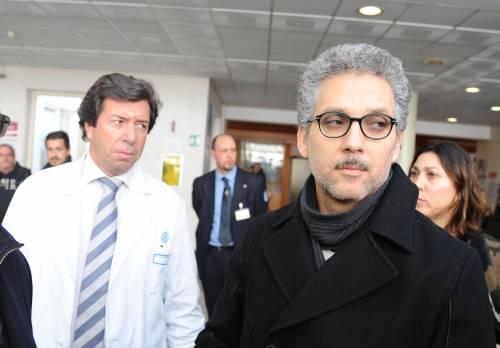 Beppe Fiorello visita il fratello Rosario al Policlinico Gemelli