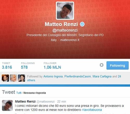Il premier Matteo Renzi su Twitter contro Beppe Grillo
