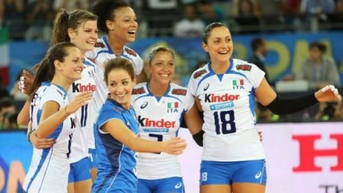 La gioia delle Azzurre al termine del match