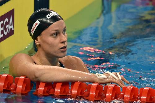 Federica Pellegrini in vasca durante i mondiali di nuoto di Doha