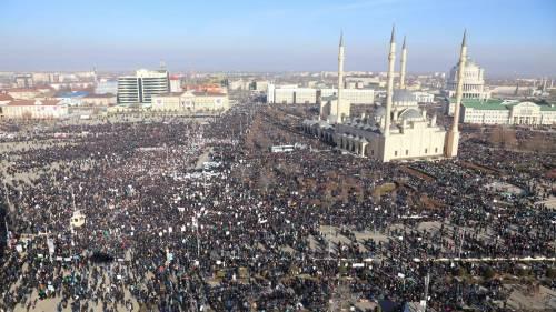 Grozny, manifestazione contro Charlie Hebdo 3