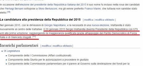 Per Wikipedia Mattarella è già presidente della Repubblica