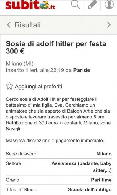 """Annuncio choc: """"Cercasi sosia di Hitler per un battesimo"""" 3"""