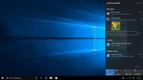 L'Action Center del nuovo Windows 10