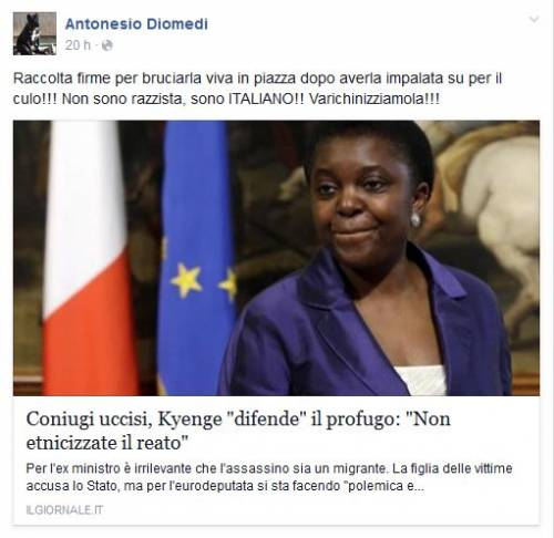 """La Kyenge? Bruciamola viva e varichinizziamola"""