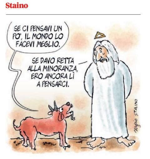 Nella vignetta dell'Unità  Matteo Renzi diventa Dio