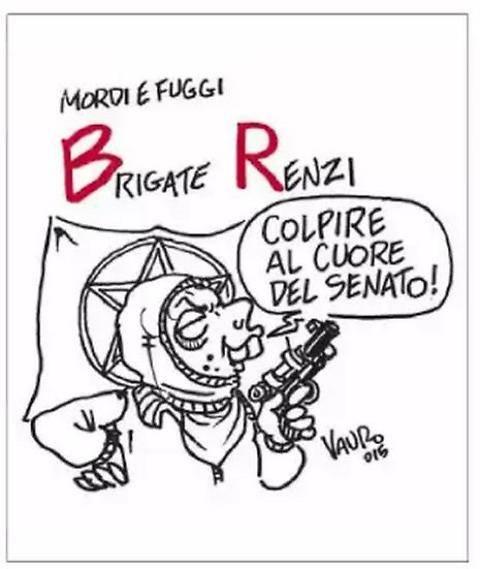 La vignetta di Vauro: Renzi diventa brigatista