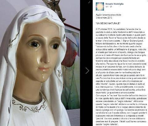 Caserta, il mistero delle lacrime della Madonna: è stato un segno naturale
