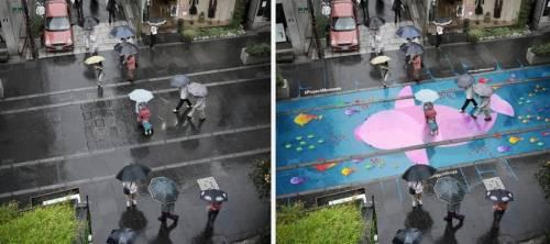 Ecco i murales anti-tristezza: visibili solo quando piove