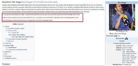 Wikipedia, hackerati i profili di Lorenzo, Marquez e Biaggi 2
