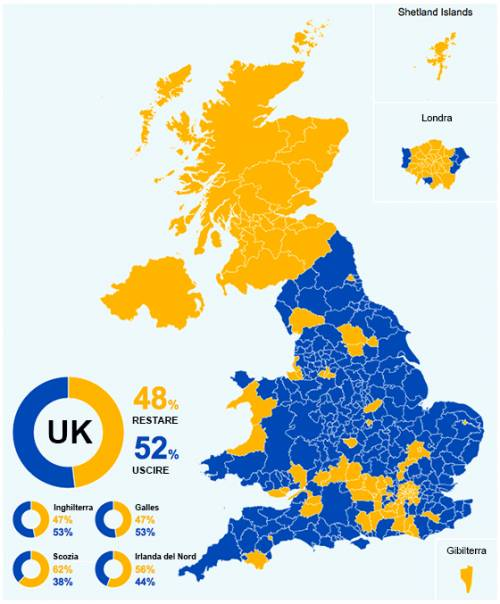 Cartina Gran Bretagna Regioni.Brexit La Mappa Del Voto Scozia Nord Irlanda E Londra Pro Remain Ilgiornale It