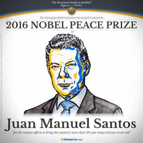 Il Premio Nobel per la Pace al presidente colombiano Santos