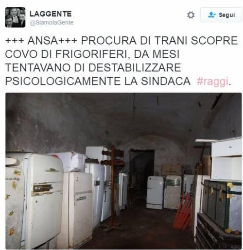 "Raggi: ""Troppi frigoriferi per strada"". E su Twitter è subito #frigogate 3"