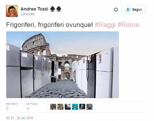 "Raggi: ""Troppi frigoriferi per strada"". E su Twitter è subito #frigogate 4"