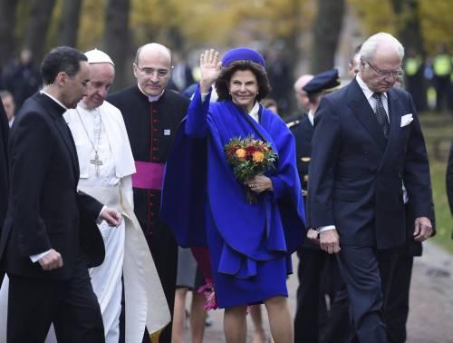 Il Papa in Svezia con la regina Silvia e re Carl Gustaf 4