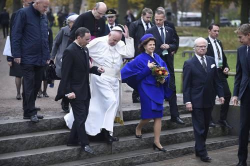 Il Papa in Svezia con la regina Silvia e re Carl Gustaf 3