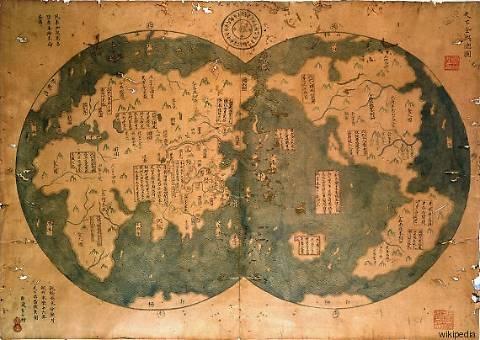 La mappa del globo che mette in discussione Colombo