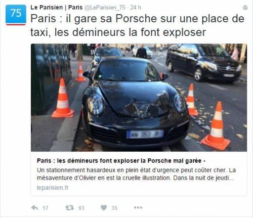 Parigi, gli artificieri fanno esplodere Porsche nel posto dei taxi