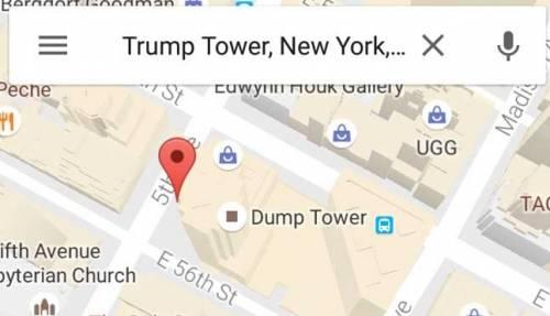 """Dump Tower, il palazzo di Trump diventa la """"Torre della spazzatura"""" su Google Maps"""